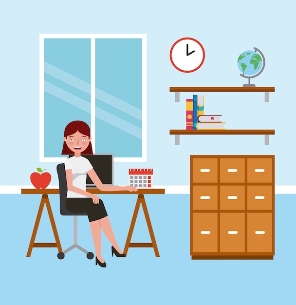 Teacher woman in classroom with desk cabinet learning Premium Vector