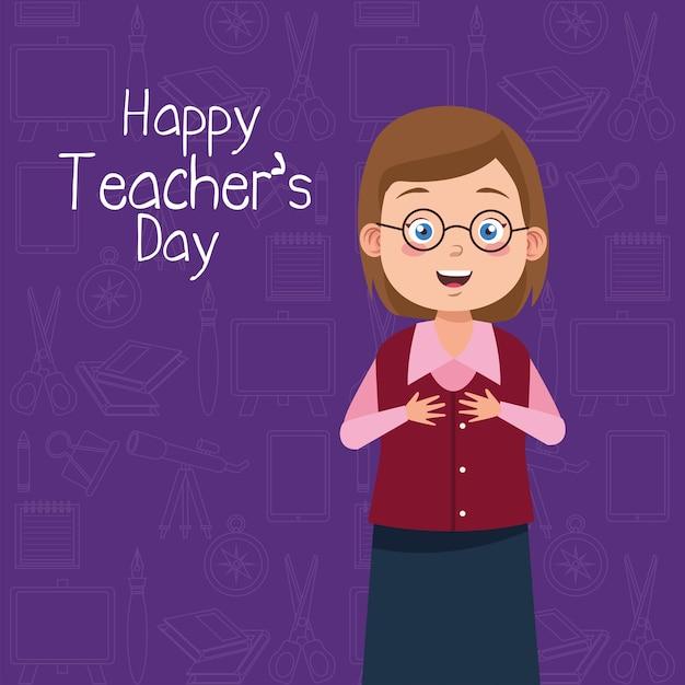 Учитель женщина в очках с надписью день учителя фиолетовый фон Premium векторы