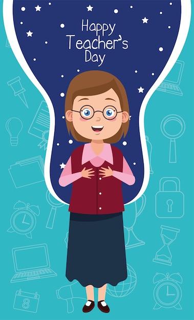 Учитель женщина в очках с надписью день учителя Premium векторы