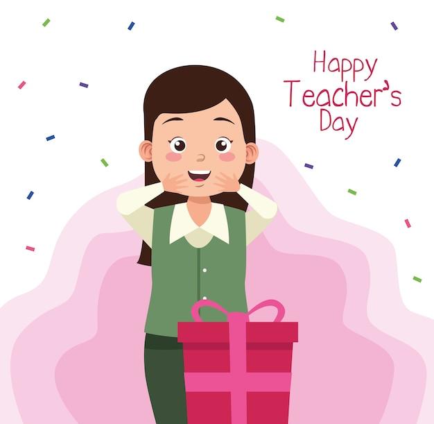 Женщина-учитель с надписью на день учителя и подарком Premium векторы