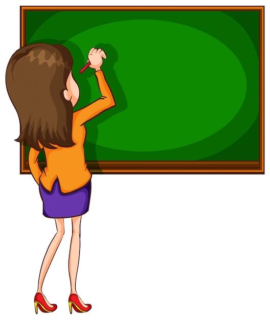 Teacher writting on blackboard Free Vector