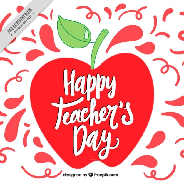 Teachers day background with apple Free Vector