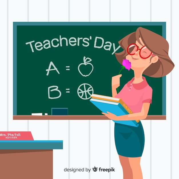 Teachers day background with female teacher Free Vector