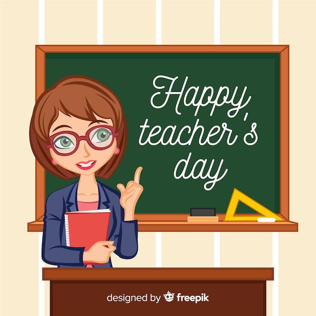 Teachers day background with good looking teacher Free Vector