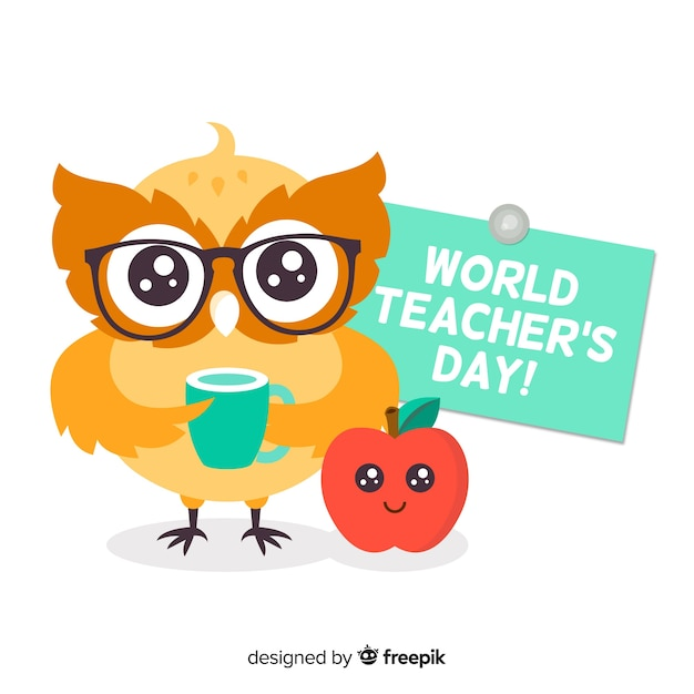 Teachers day background with owl Free Vector
