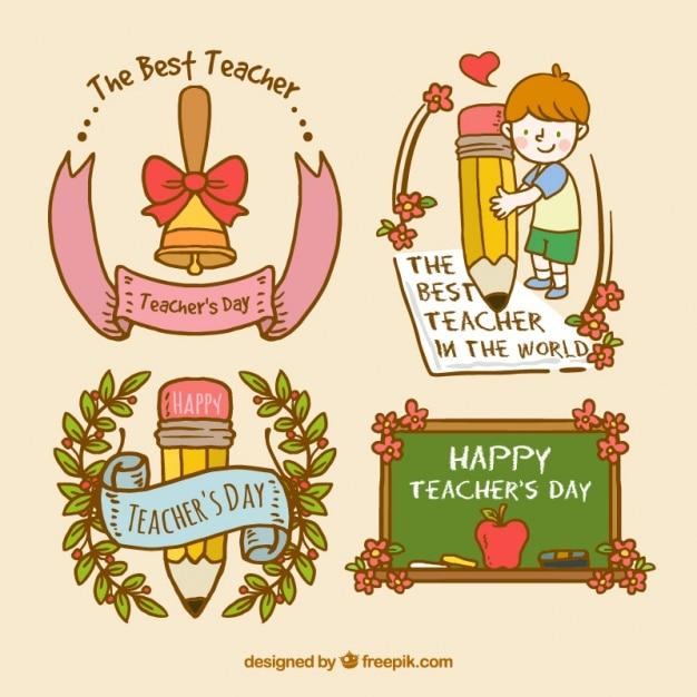Teachers day badge set