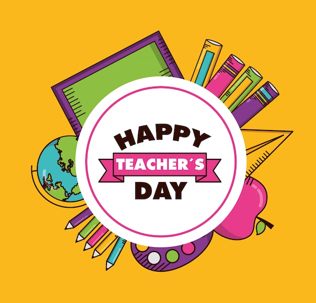 teachers day card vector  free download