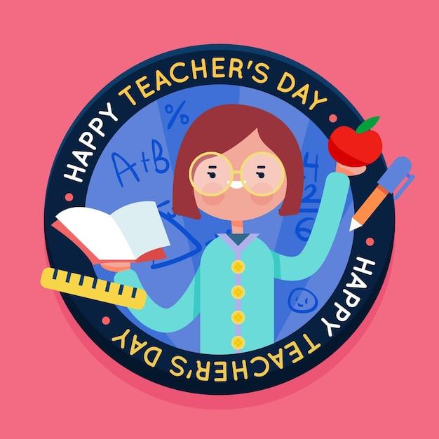 教師の日お祝いフラットデザイン 無料ベクター