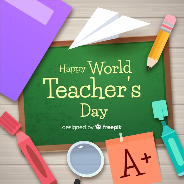 Teachers day composition Free Vector