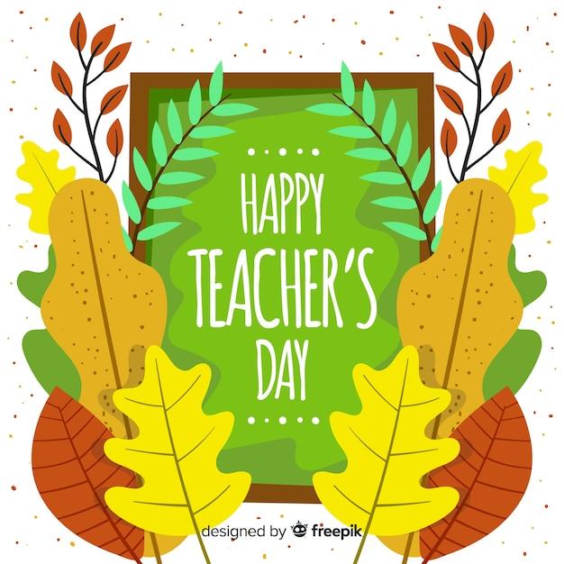 Concetto di giornata degli insegnanti con sfondo design piatto Vettore gratuito