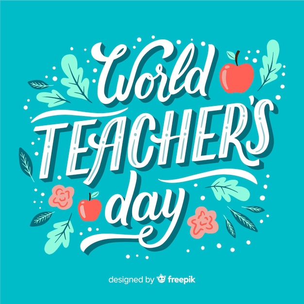 Teachers day concept with lettering Free Vector