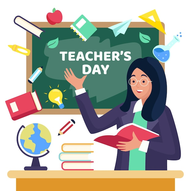 Teachers' day with blackboard and tutor Free Vector