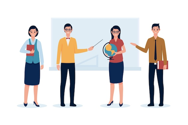 Teachers holding objects in their hands Free Vector