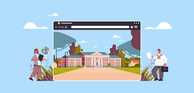 Teachers near digital school building in web browser window online education Premium Vector