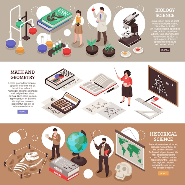 Teachers and school horizontal banners set with maths and biology symbols isolated isometric Free Vector