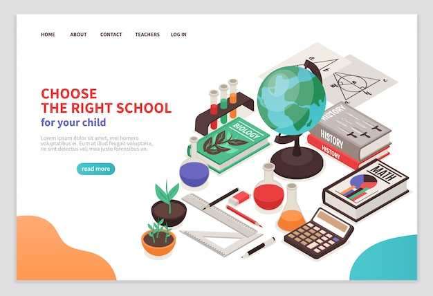 Teachers and school page with education symbols isometric Free Vector