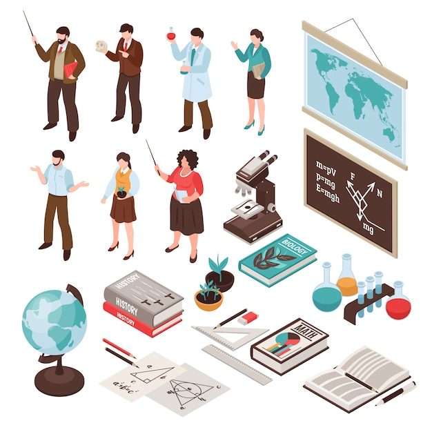 Teachers and school set with lesson and education symbols isolated isometric Free Vector
