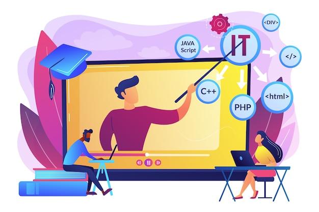Обучение студентов онлайн. интернет-обучение. компьютерное программирование. онлайн-курсы ит, лучшее онлайн-обучение ит, концепция онлайн-курсов сертификации. Бесплатные векторы