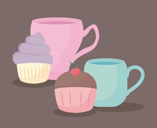 Teacup with sweet cupcake Premium Vector