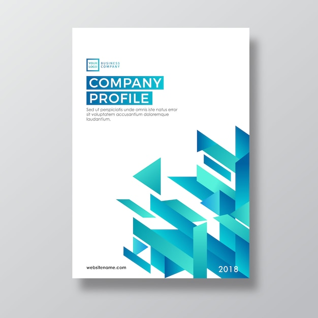 Teal Abstract Geometry Style Company Profile Template Vector