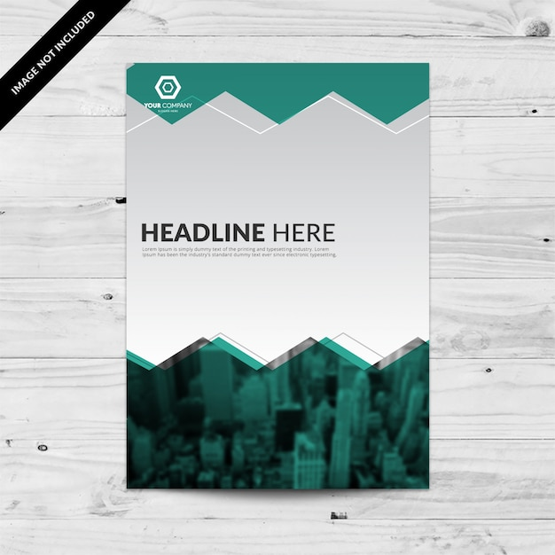 Teal blue business flyer design template with grey background