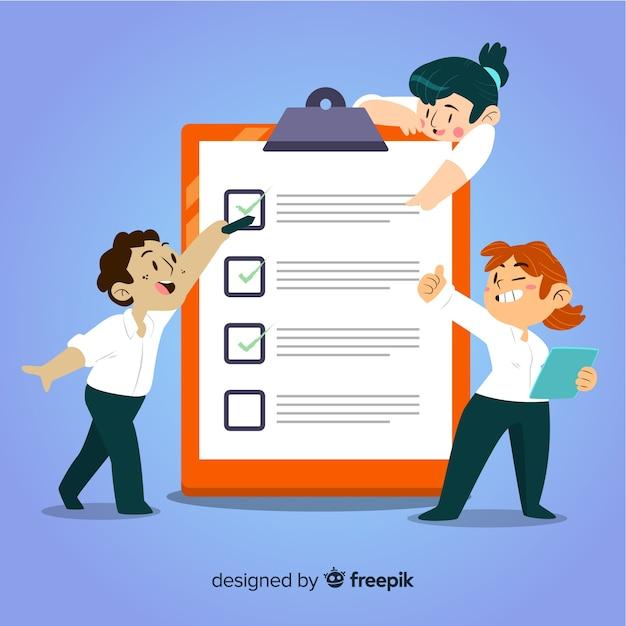 Team analyzing checklist illustration Free Vector