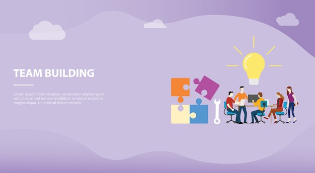 Team building concept with big word text and puzzle for website template or landing homepage design Premium Vector