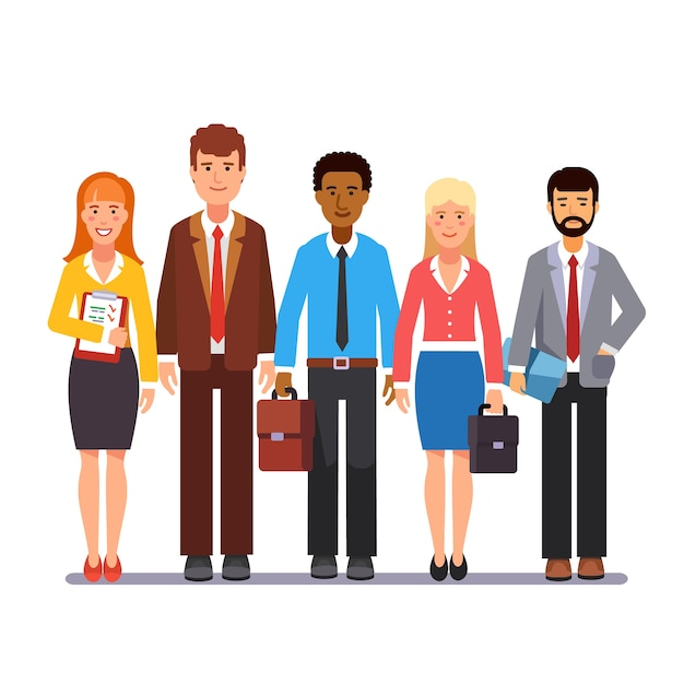 Team of business men and women standing together Free Vector