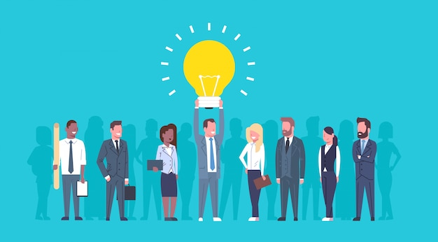 Team of business people holding light bulb new creative idea concept group of successful businesspeo Premium Vector