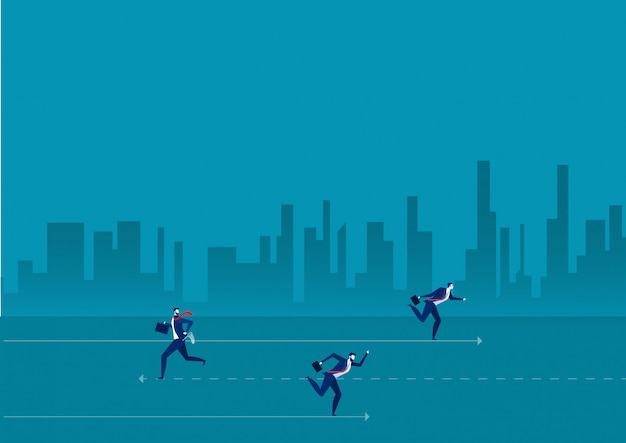Team business running header in one direction and one different businessperson going up a ladder. Premium Vector