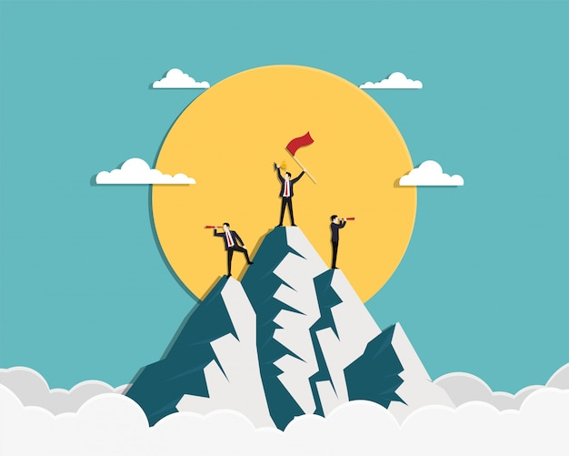 Team businessman holding a red flag and gold trophy stand on top of mountain Premium Vector