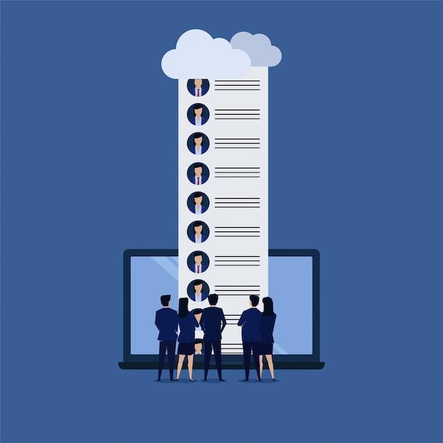 Team of businessman see candidate online. Premium Vector
