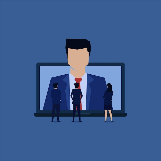 Team of businessman see new employee online. Premium Vector