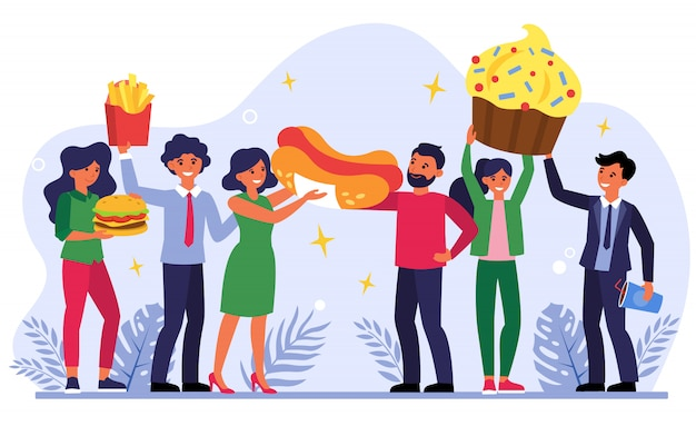 Team celebrating success with fast food Free Vector