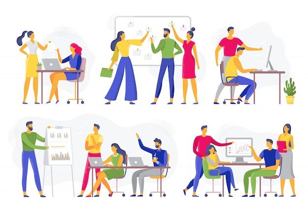 Team collaboration. teamwork workshop meeting, creative brainstorm and office workers teams flat  illustration set Premium Vector