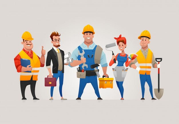 Team of construction workers Premium Vector