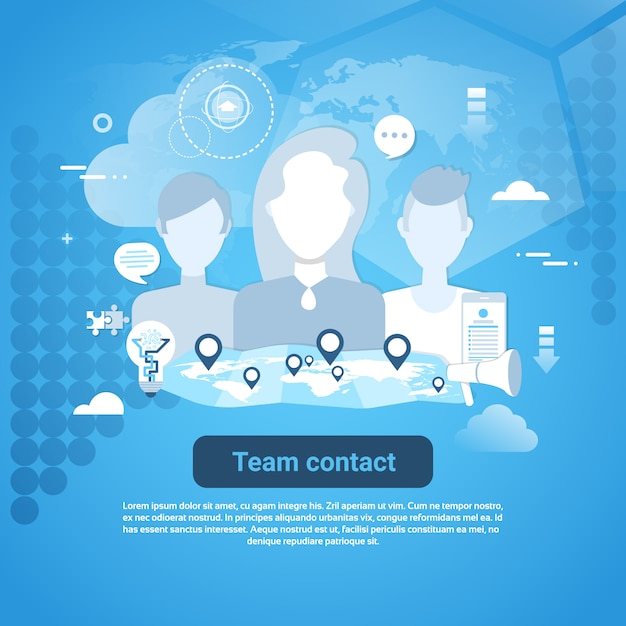 Team contact web banner with copy space Premium Vector