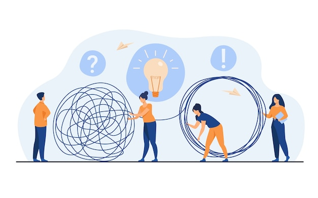 Team of crisis managers solving businessman problems. employees with lightbulb unraveling tangle. vector illustration for teamwork, solution, management concept Free Vector