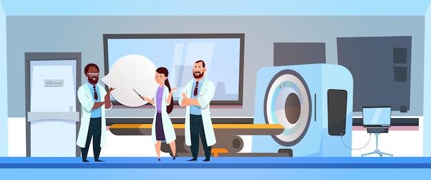 Team of doctors over mri machine scanner hospital Premium Vector