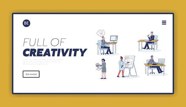 Team of graphic designers working. creative website or mobile app development landing page. Premium Vector