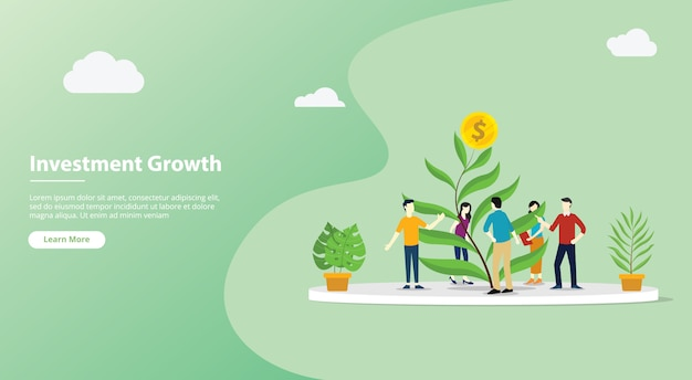 Team growing investment website template page Premium Vector