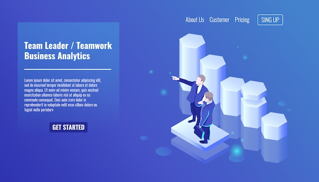 Team leader, teamworking, two businessman stay on growth graphic background Free Vector