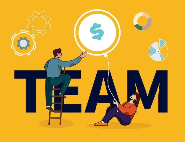 協力者とチームレタリングバナー Premiumベクター