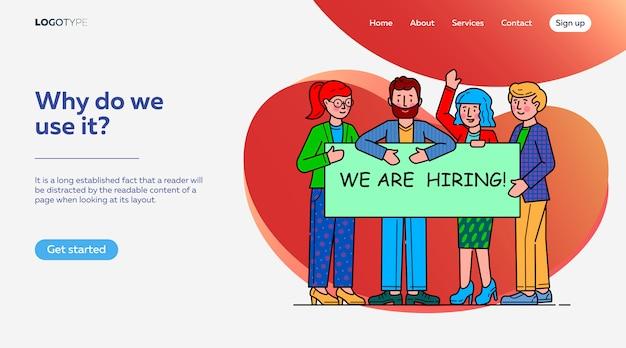 Team looking for professionals landing page template Free Vector