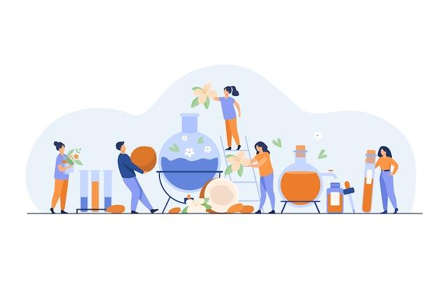 スキンケア製品を製造し、蒸留器でハーブ、花、エッセンシャルオイルを混合する技術者のチーム。化粧品製造プロセスの概念のベクトル図 無料ベクター