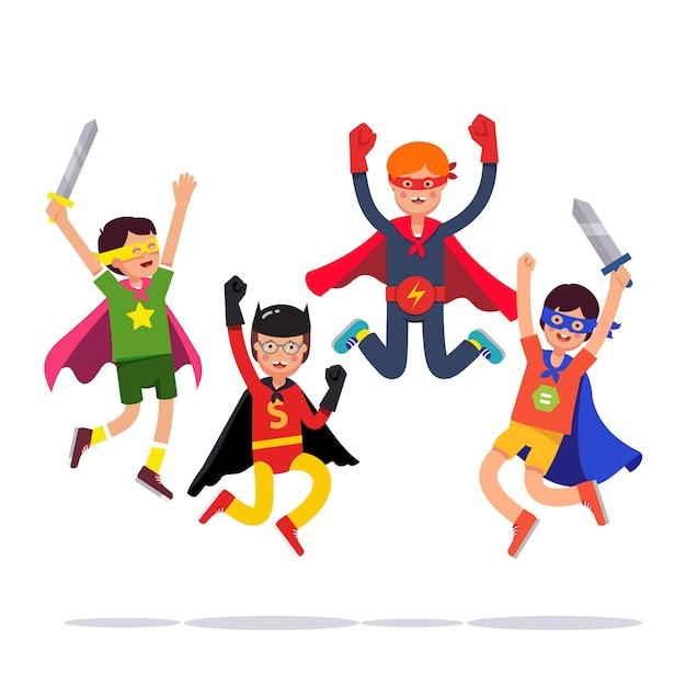 Team of young superhero boys