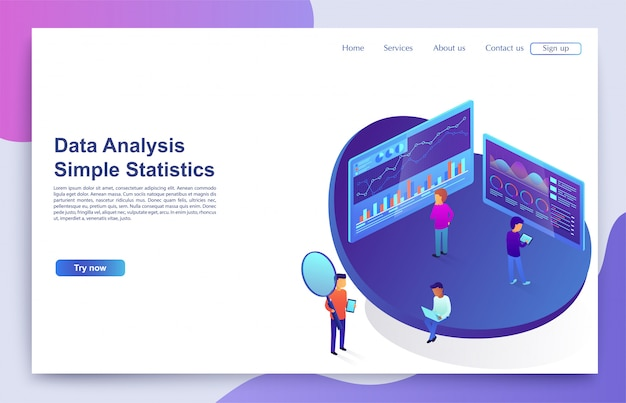 Team of people interacts with graphs and charts analyzing statistics. concept of visual data, digital marketing. Premium Vector