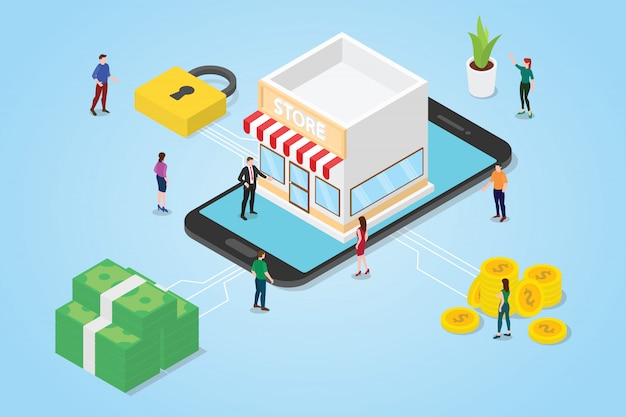 Team people men woman with stores building on the smartphone app Premium Vector