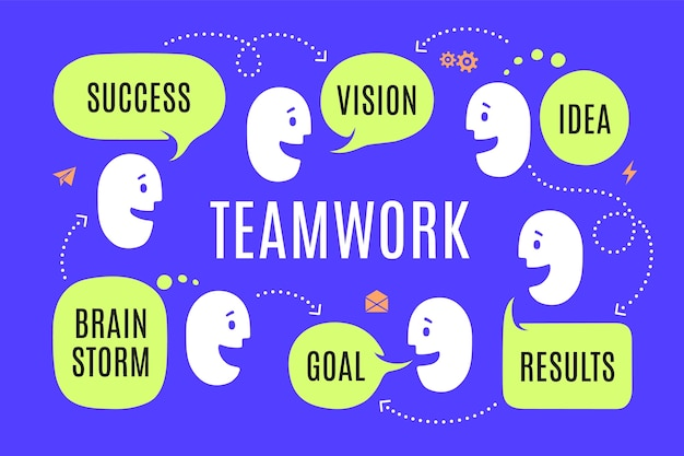 さまざまな形のチームの人々が吹き出しまたはクラウドで接続テキストを話します成功 Premiumベクター