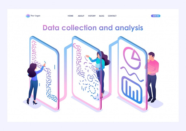 Team of professionals processes data and generates reports for analysis. Premium Vector